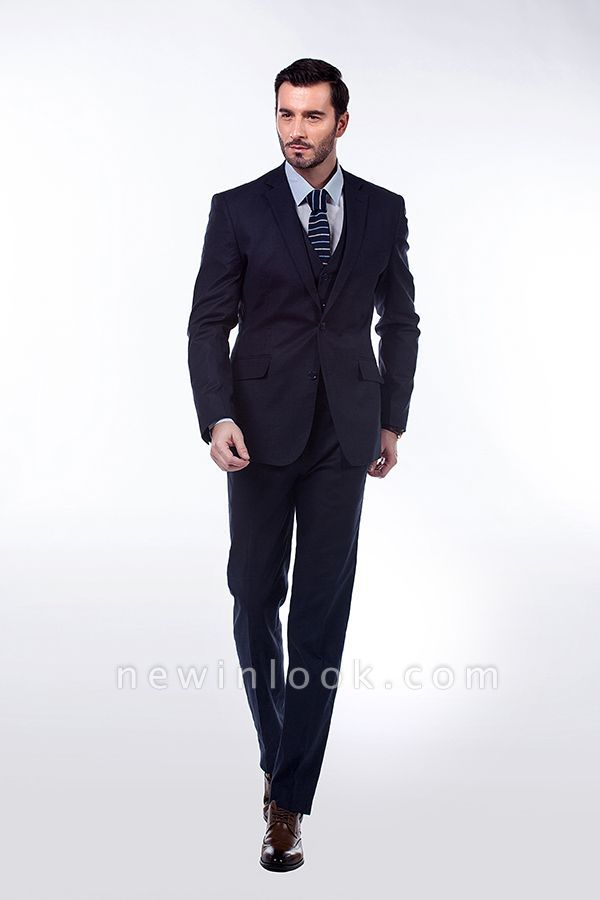 Dark Navy Peak Lapel Single Breasted Chambelanes Tuxedos | Premium Wool Three-Pieces Back Vent Customize suits