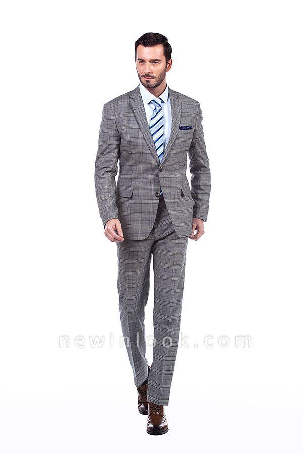 Morderno Solapa pico Gris Traje de hombre a cuadros | 3 bolsillos personalizado traje de la boda de un solo pecho