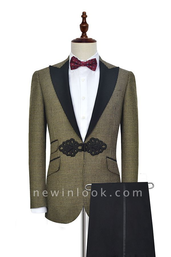New Arrival Aureate Small Grid Wool Custom Quinceanera Tuxedos | Chinese Knot Peak lapel 3 Pocket Chambelanes Tuxedos