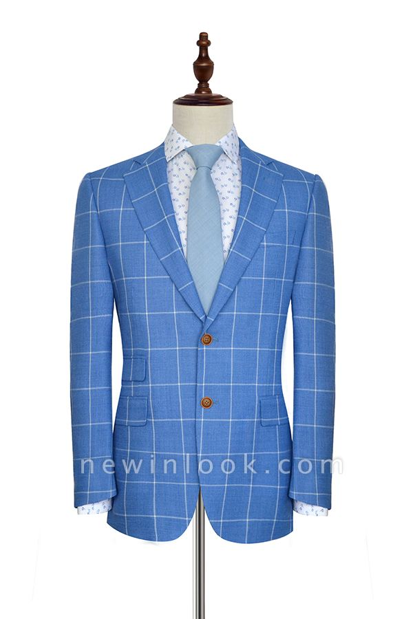 Slim Blue Grid 3 Pocket Wool Tailored Suit For men | New Single Breasted Peaked Lapel Chambelanes Tuxedos for my Quince