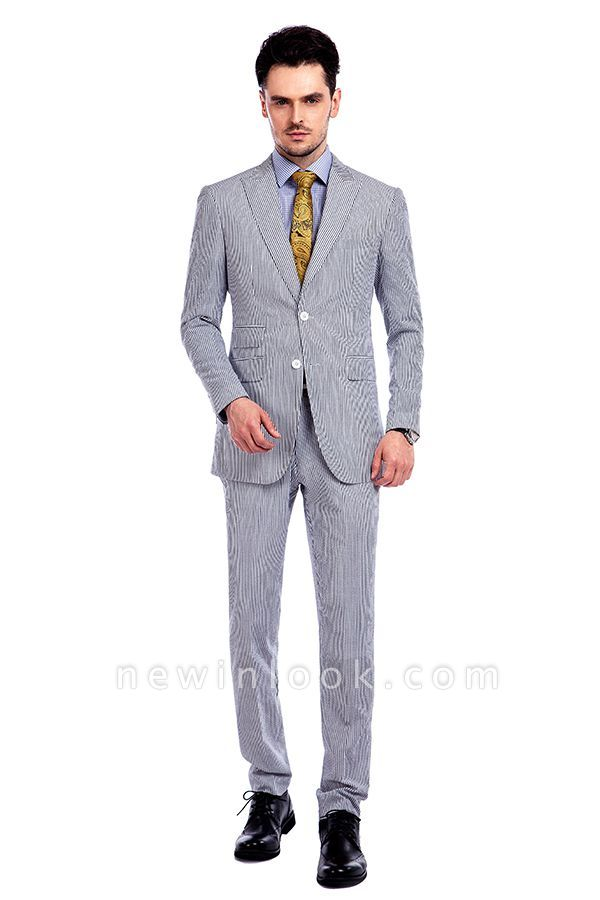 Popular Grey Stripes Breathable Causal Suit for Men | Peak Lapel Customize Single Breasted Chambelanes Tuxedos