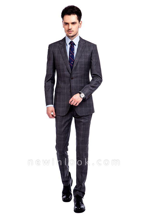 Traje a cuadros de primera calidad a medida en gris para hombres | Pocket solo traje de boda de pecho