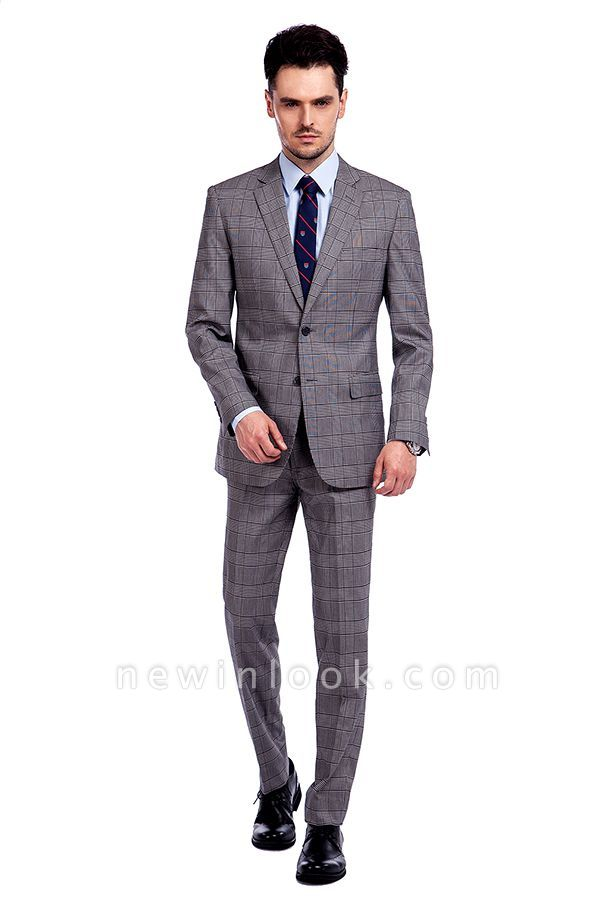 Modern Grey Checks Two Button Custom Formal quinceanera Chambelanes Tuxedos | Single Breasted Peak Lapel Business Quinceanera Tuxedos for Chambelanes