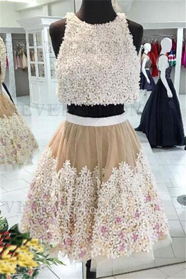 Crystal Applique Jewel Dama Dresses | Two Piece Sleeveless Short Party Dresses