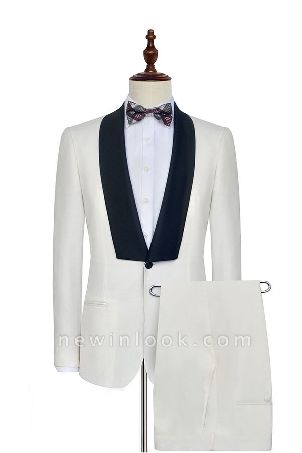 White Shawl Collar Single Breasted Chambelanes Tuxedos | New Arrival 2 Pocket Custom Suit For Men