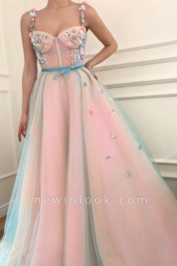 Elegant Flower Bowknot Spaghetti-Strap  Banquet Dresses | Ribbons Sheer Sleeveless Formal Dresses with Beads
