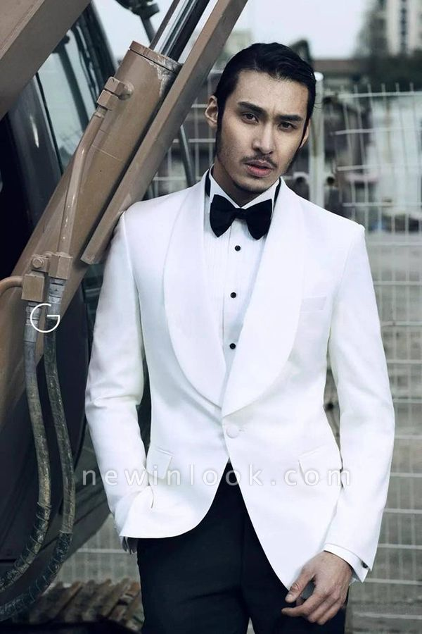 White Wool Shawl lapel Custom Suit For Men | Single Breasted One Button Quinceanera Tuxedos