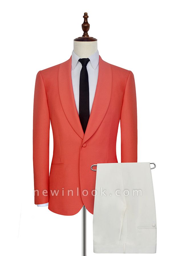New Arrival Single Breasted One Button 2 Pocket Tailored Suit | Watermelon Red Shawl Collar Custom Suit Quinceanera Tuxedos for Chambelanes