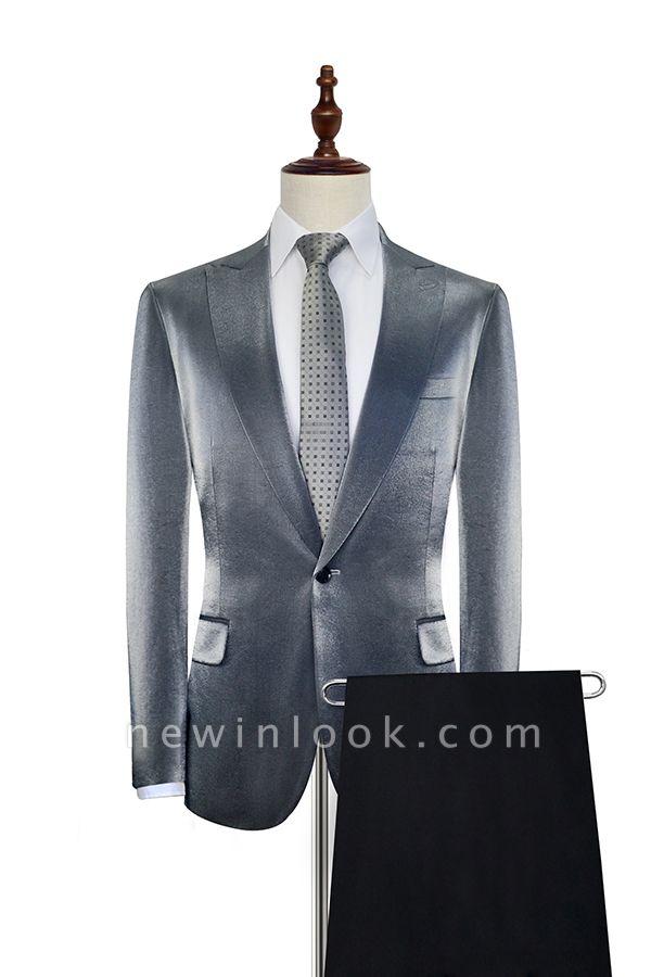 Hot Recommend Grey Velvet Custom Quinceanera Tuxedos | Peak lapel Single Breasted 2 Pocket Chambelanes Tuxedos