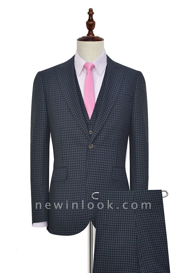 Dark Gray Small Grid One Button Peaked Lapel Custom Chambelanes Tuxedos | Single Breasted Three-Piece Suit For Men Tuxedos