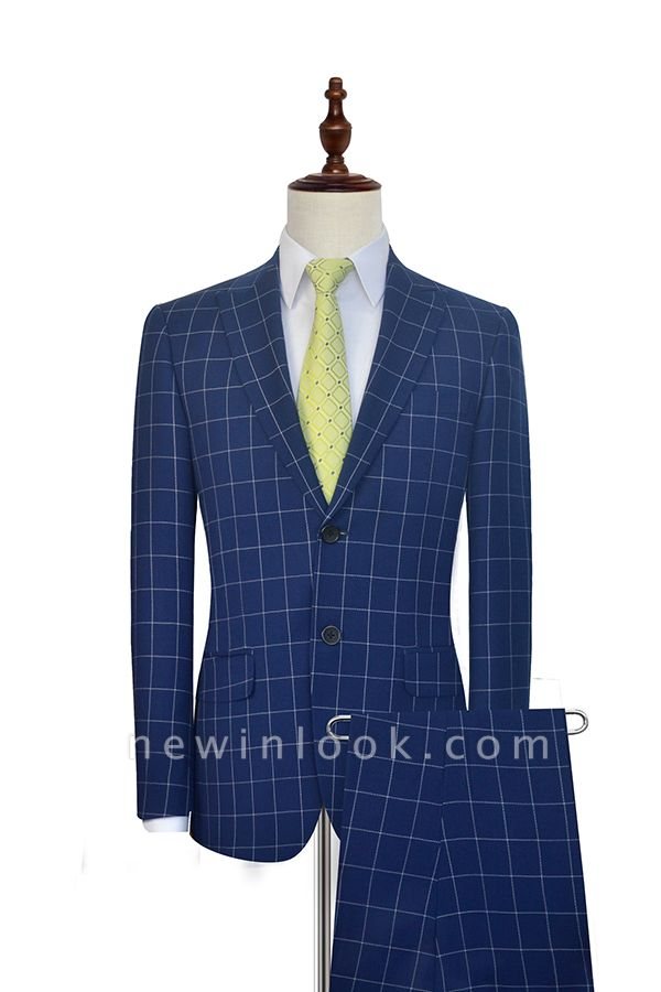 New Arrival Deep Blue Grid Wool Peak Lapel Customized Tuxedos for my Quince  | Single Breasted Two Button Unique Quinceanera Tuxedos