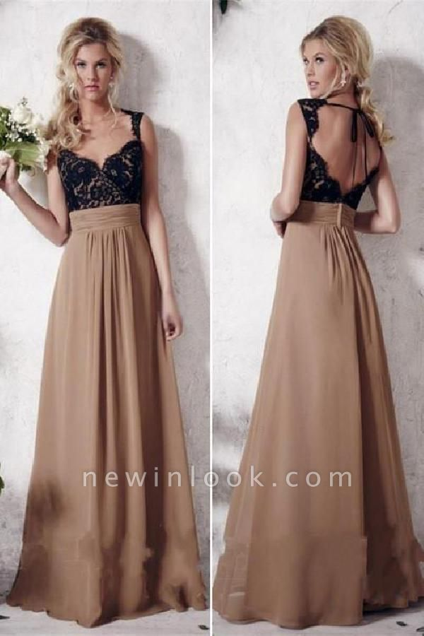 Gorgeous Applique Straps Banquet Dresses |Simple Backless Sleeveless Formal Dresses