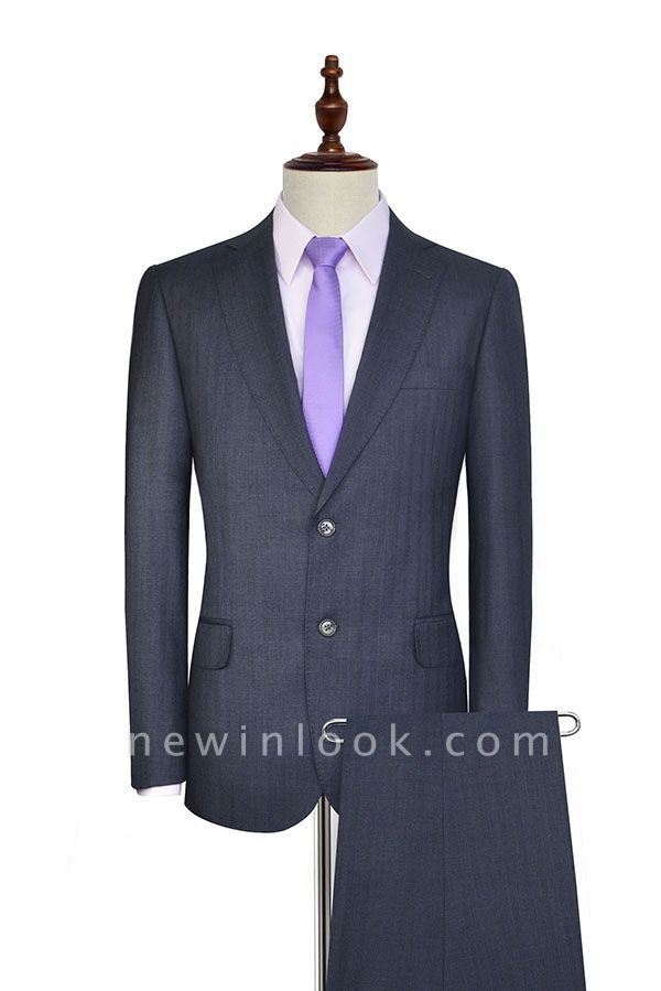 Dark Grey Wool Stripe Two botton Suit For Men | New Single Breasted Quinceanera Tuxedos