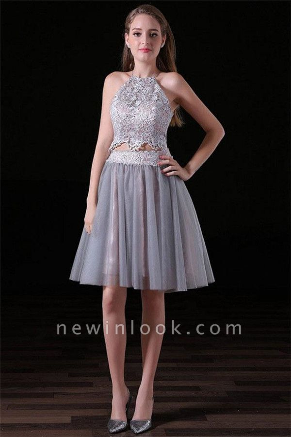 Gorgeous Halter Applique Dama Dresses | Two Piece Lace-Up Sleeveless Short Party Dresses
