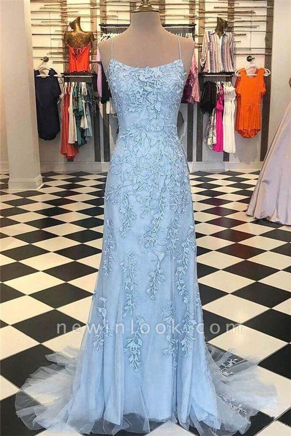 Alluring Sheer Applique Spaghetti-Strap Banquet Dresses |  Mermaid Sleeveless Formal Dresses