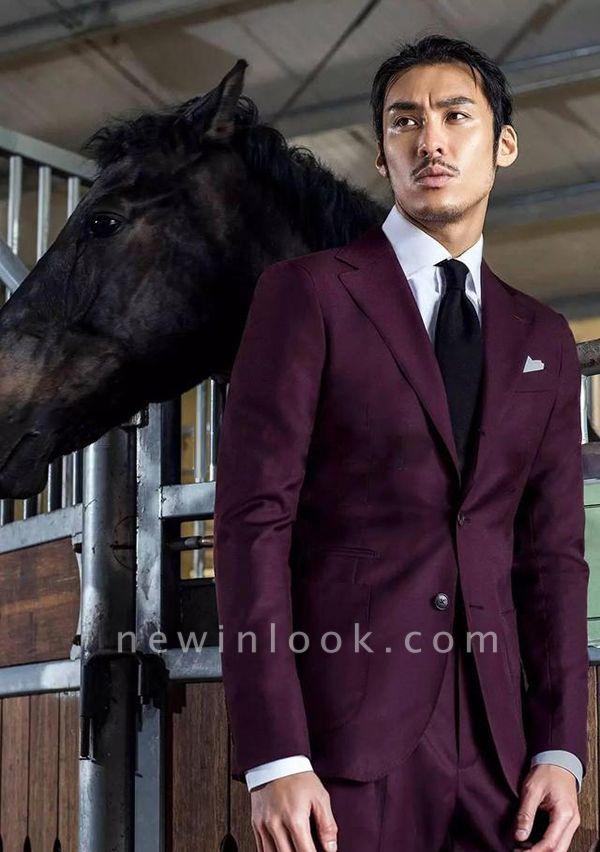 Dos botones de lana borgo_a 2019 para novio Traje de boda | Traje de negocios de un solo pecho con solapa de dos bolsillos y solapa