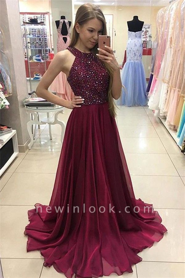 Sexy Crystal Jewel vestidos de baile | Vestidos de noche sin mangas escarpados baratos