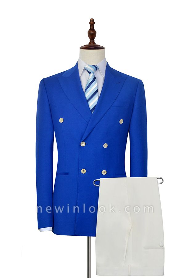 Royal Blue Double Breasted Wool Custom Suit | Fashion Peak Lapel Six Button Quinceanera Tuxedos for Chambelanes