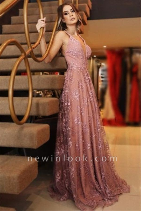 Elegant Pink Applique Sexy V-Neck Banquet Dresses | Backless Sleeveless Formal Dresses