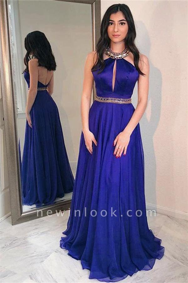 Shining Sequins Halter Crystal Applique Banquet Dresses | Backless Keyhole Sheer Sleeveless Alluring Formal Dresses
