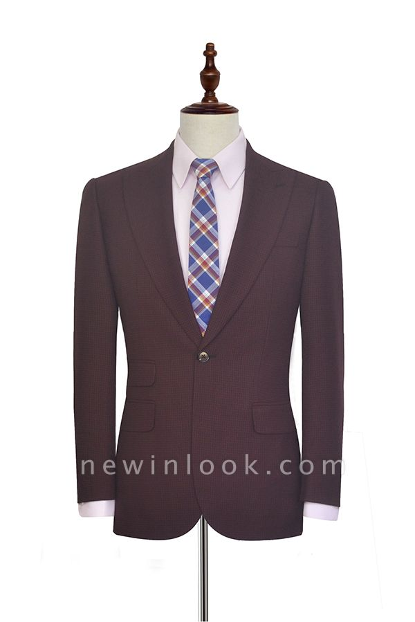 Dark Red Small grid Peak Lapel Custom Suit For Men | New Single Breasted One Button Chambelanes  Tuxedos for my Quince