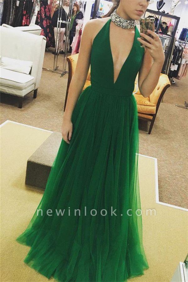Elegant Crystal Halter Banquet Dresses | Sheer Sleeveless Formal Dresses | Banquet Dresses Online