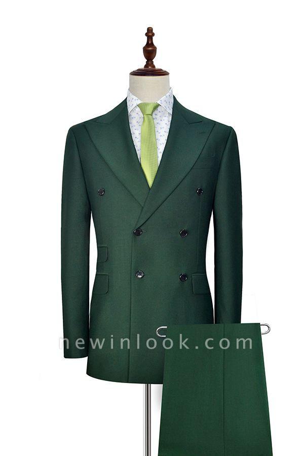 Traje a medida de doble botonadura verde para formal | Solapa enarbolada 3 bolsillos por encargo Causal Traje