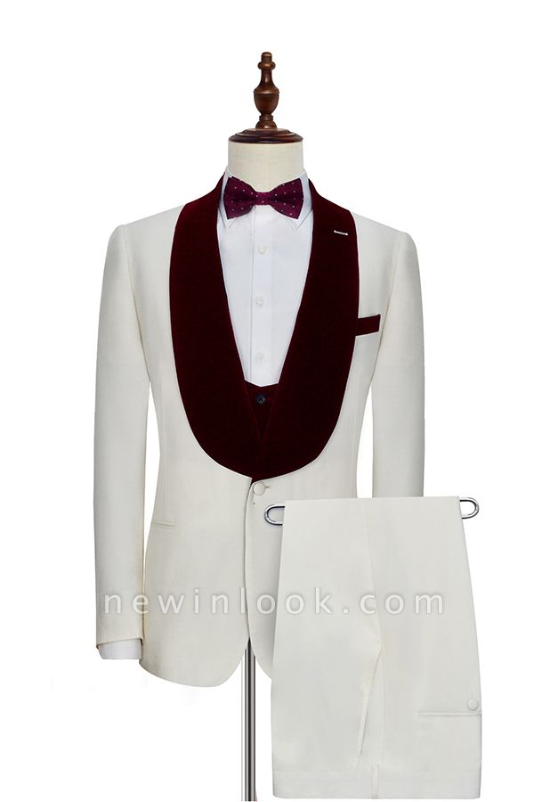 White Red Velvet Shawl Collar One Button Quinceanera Tuxedos | Latest Design Single Breasted Slim Fit Suit