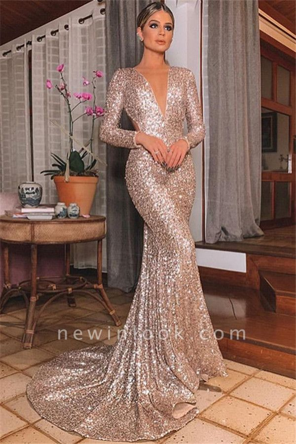 Alluring Silver Backless Lone-Sleeves Sexy V-Neck Sequins Mermaid Formal Dresses | Banquet Dresses Online