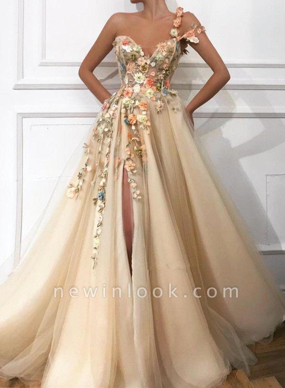 Elegante vestido de noche con flores | con abertura lateral de flores de un hombro