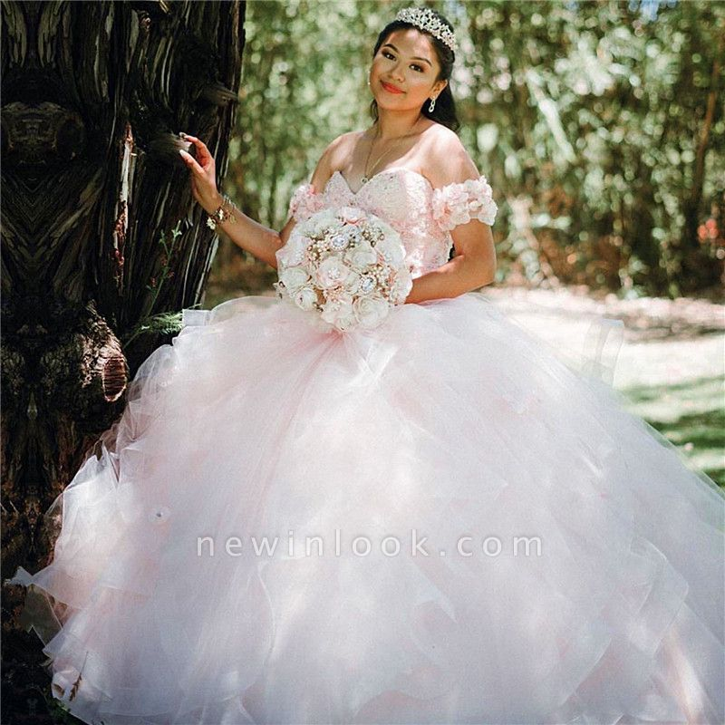 Attractive Off-the-shoulder Sweetheart Sweet 16 Dresses | Flowers Ball Gown Quince Dresses Long