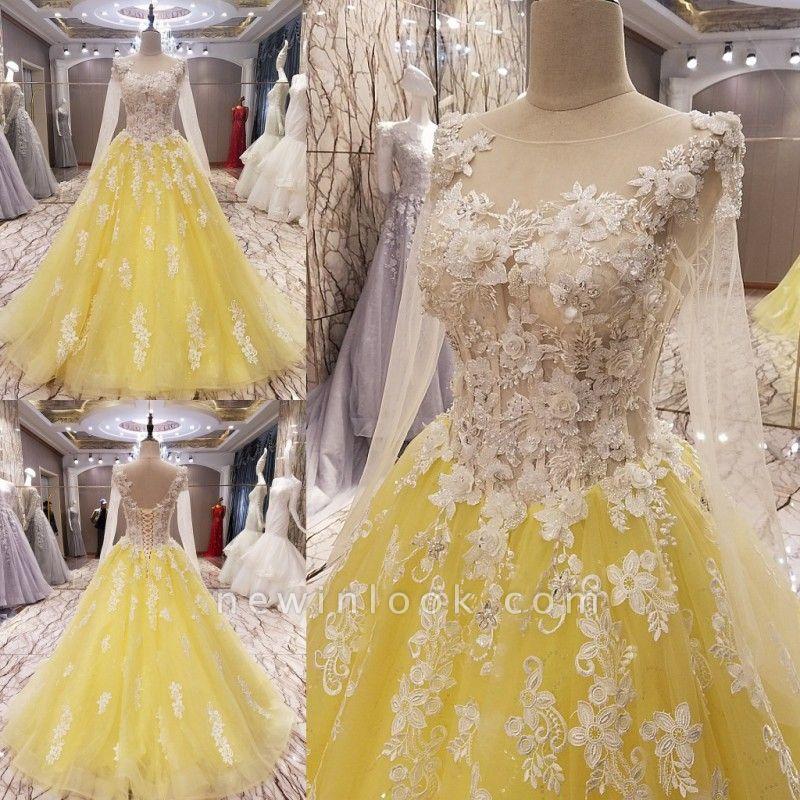 Vestidos de quincea_era Apliques de flores | de manga larga para la bola