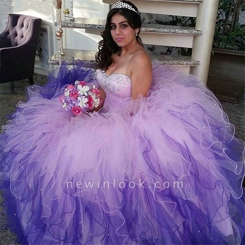 Wonderful Colorful Sweetheart Beadings Ball Gown 15 Dresses | Sleeveless Cascading Rruffles Quinceanera Dresses Long