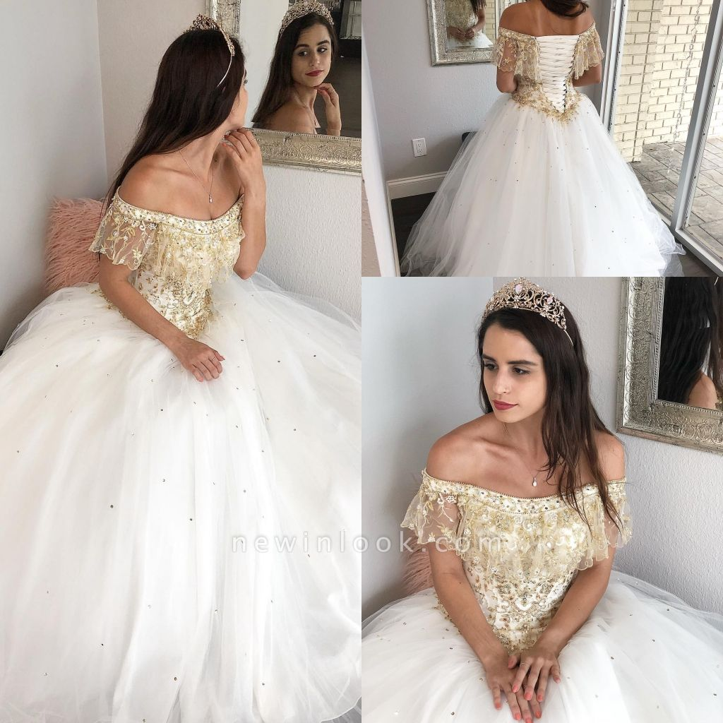 Fabulous Off-the-shoulder Beadings Ball Gown XV Dresses | Lace Quinceanera Dresses Long