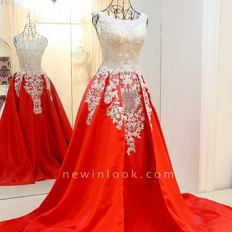 Lace Appliques Beading Sleeveless Red Quinceanera Dresses