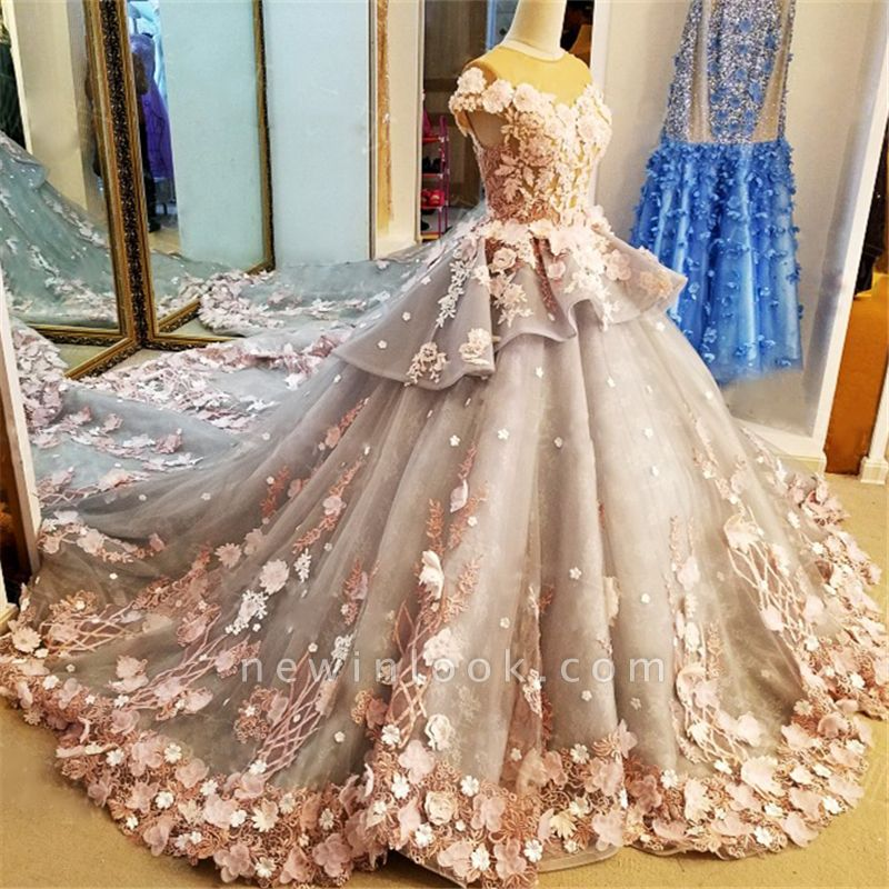 Vintage Short Sleeves Floral Appliqued Tulle Ball Gown Quinceanera Dresses