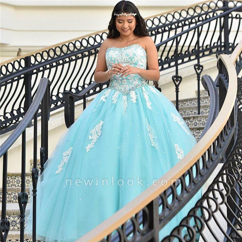 Atractivo piscina azul sin tirantes dulce 16 vestidos | Vestido de fiesta apliques de quince vestidos largos