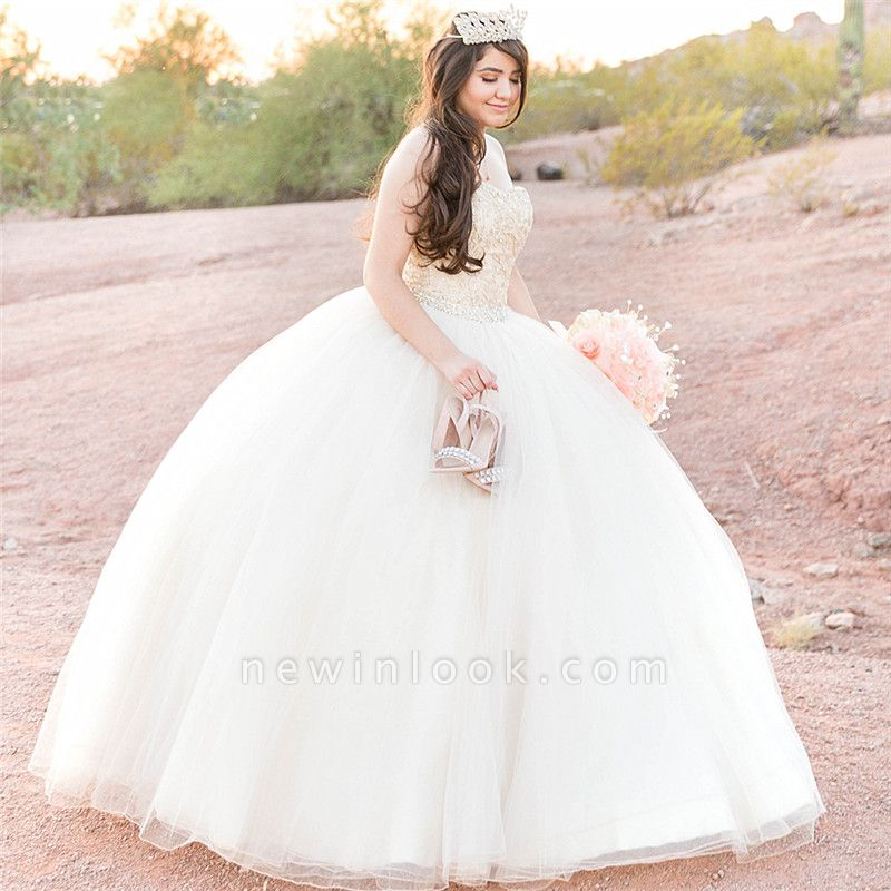 Attractive White Sweetheart Beadings Sleeveless Sweet 16 Dresses | Ball Gown Quince Dresses Long