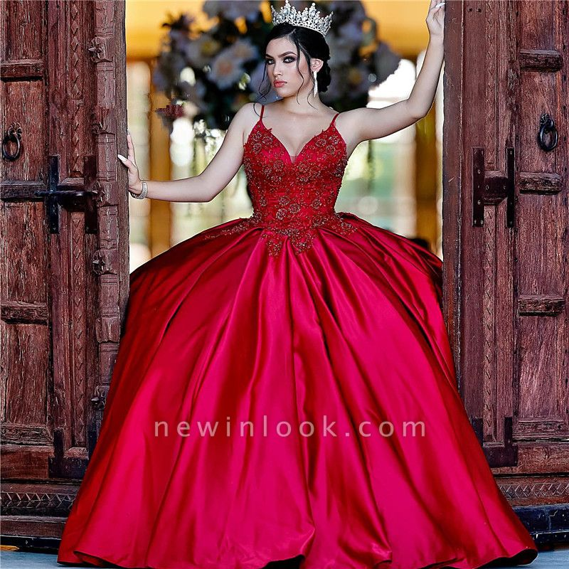 Gorgeous V-neck Appliques Ball Gown Quinceanera Dresses | Spaghetti Straps Ball Gown XV Dresses