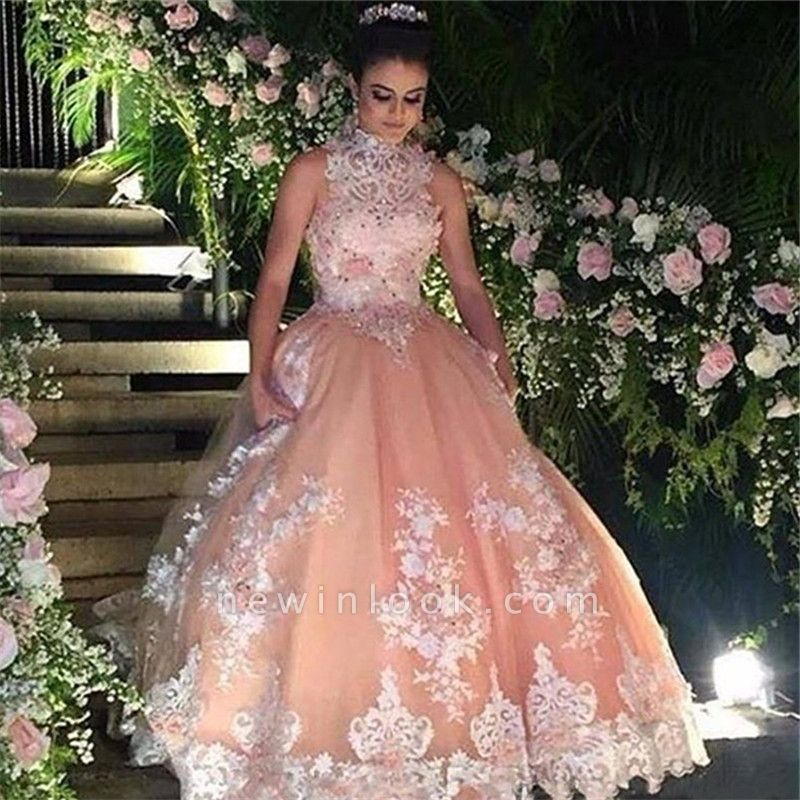Wonderful High-Neck Appliques Ball Gown 15 Dresses | Sleeveless Beadings Quinceanera Dresses Long