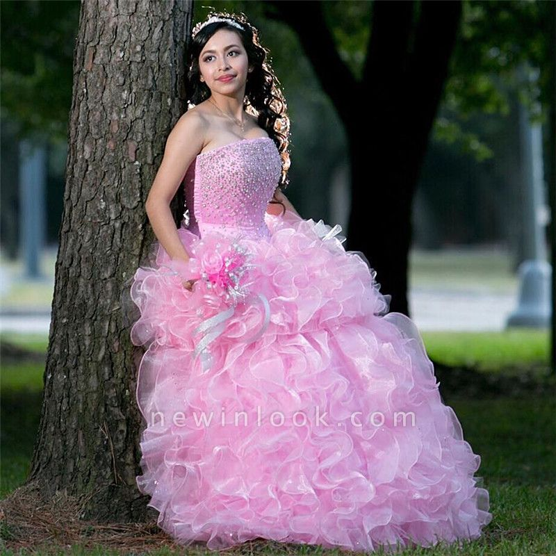 Beautiful Pink Strapless Sleeveless Ball Gown Quinceanera Dresses | Ruffles Beadings 16 Dresses Long