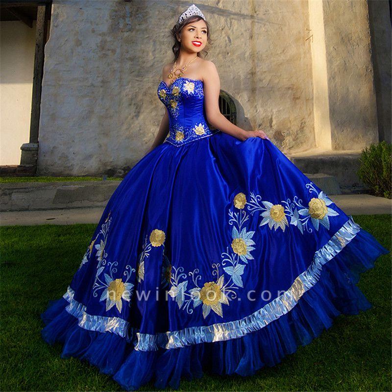 Fabuloso azul real vestido de fiesta bordado cariño XV vestidos | Vestidos de quinceañera sin mangas largos