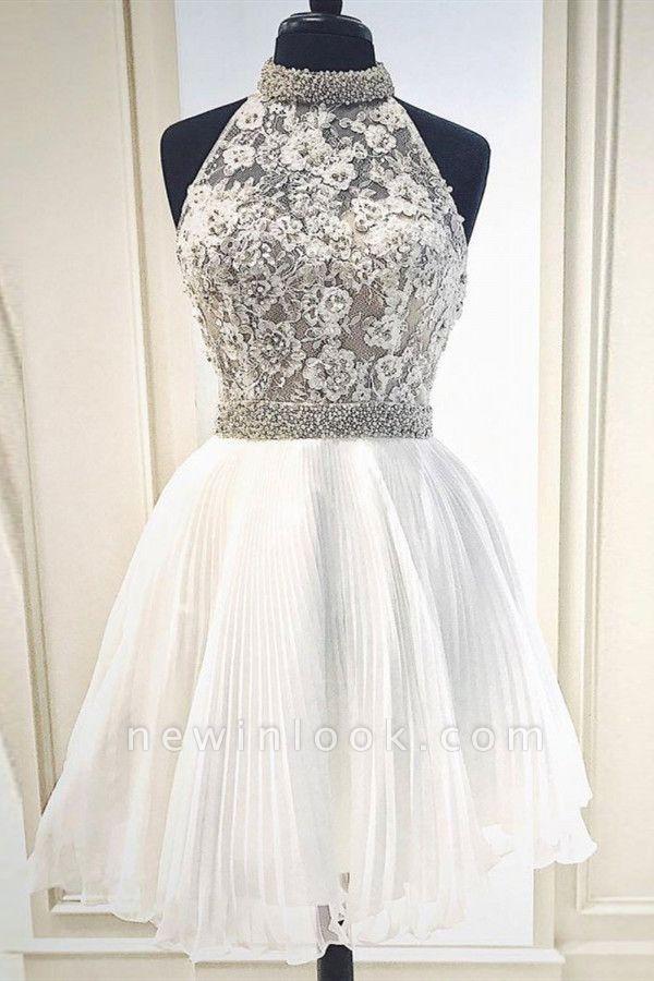 Blanco vestido de fiesta con lace sin mangas | de encaje con cuello alto