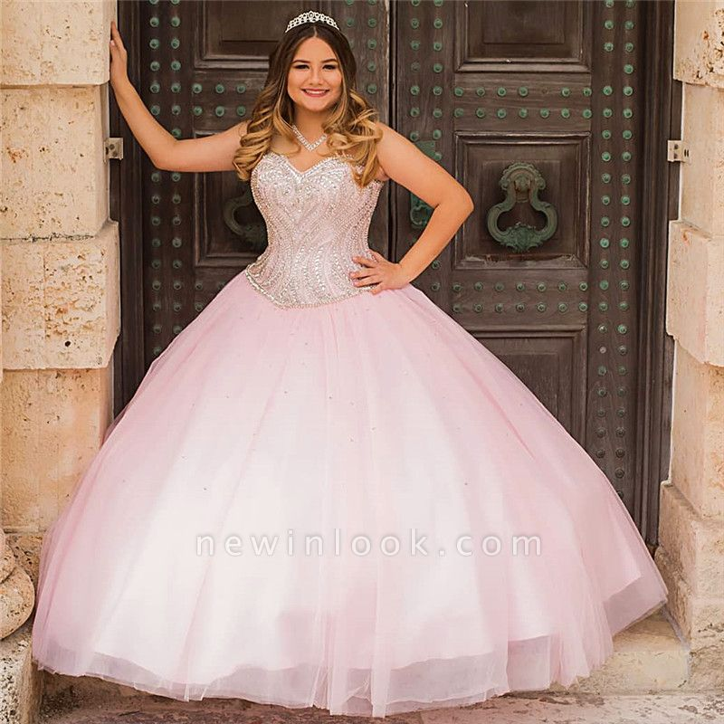 Beautiful Pink Sweetheart Sleeveless Ball Gown Quinceanera Dresses | Beadings 16 Dresses Long
