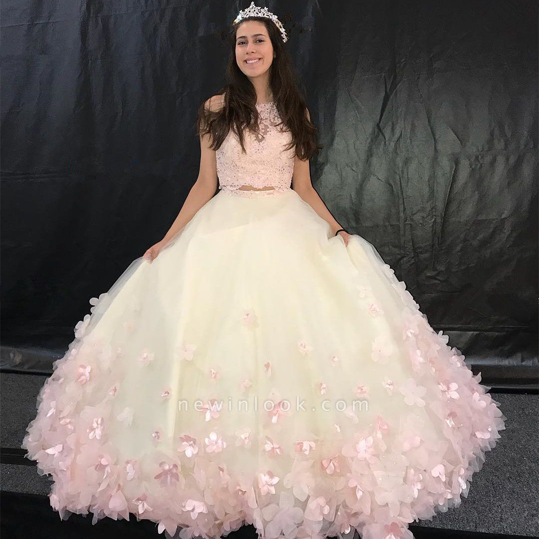 Attractive Two Pieces Jewel Handmade Flowers Sleeveless Sweet 16 Dresses | Lace A-line Quince Dresses Long