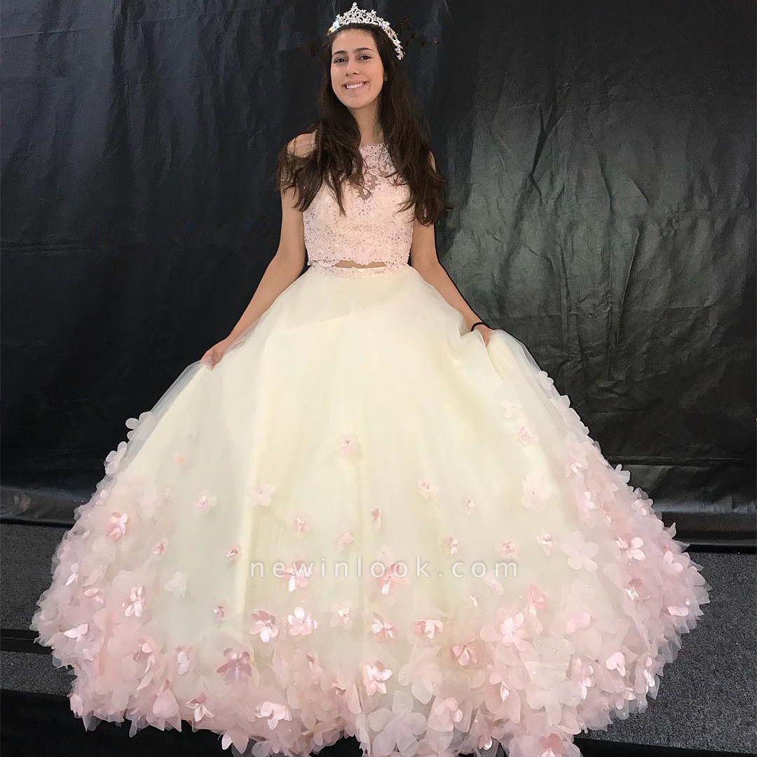 Atractivo dos piezas joya flores sin mangas membrillo largos | Encaje dulce 16 vestido hechas a mano