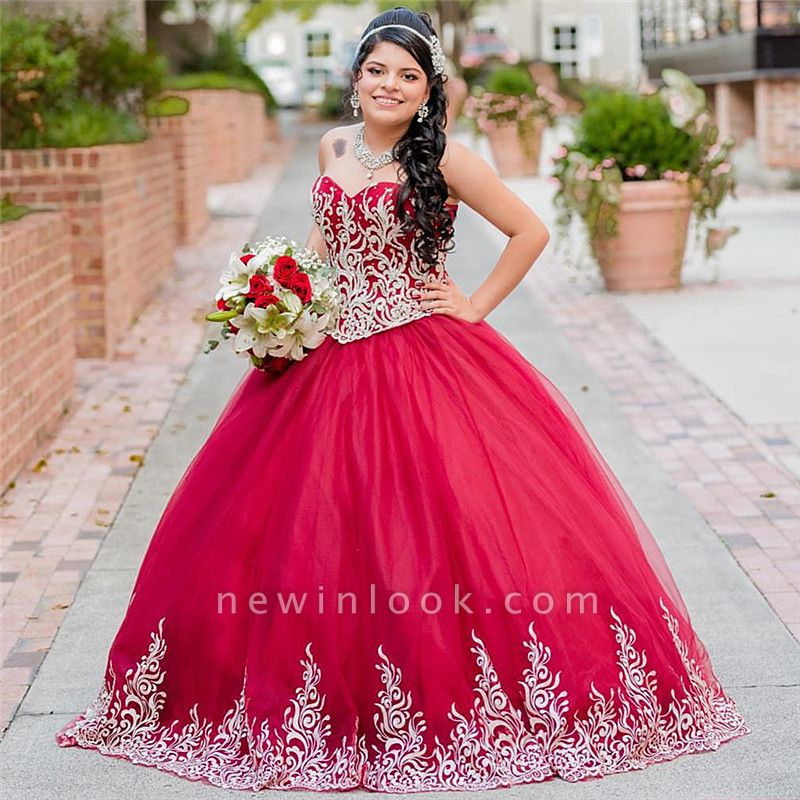 Beautiful Red Sweetheart Sleeveless Ball Gown Quinceanera Dresses | Appliques 16 Dresses Long