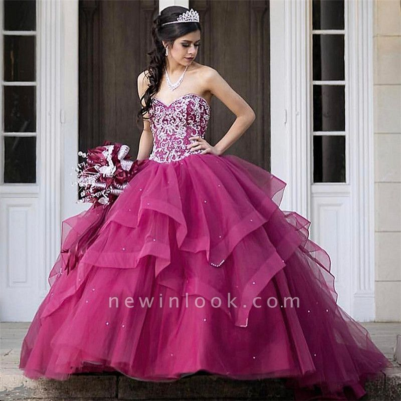 Beautiful Sweetheart Tierd Ball Gown Quinceanera Dresses | Beadings Sweet 16 Dresses Long