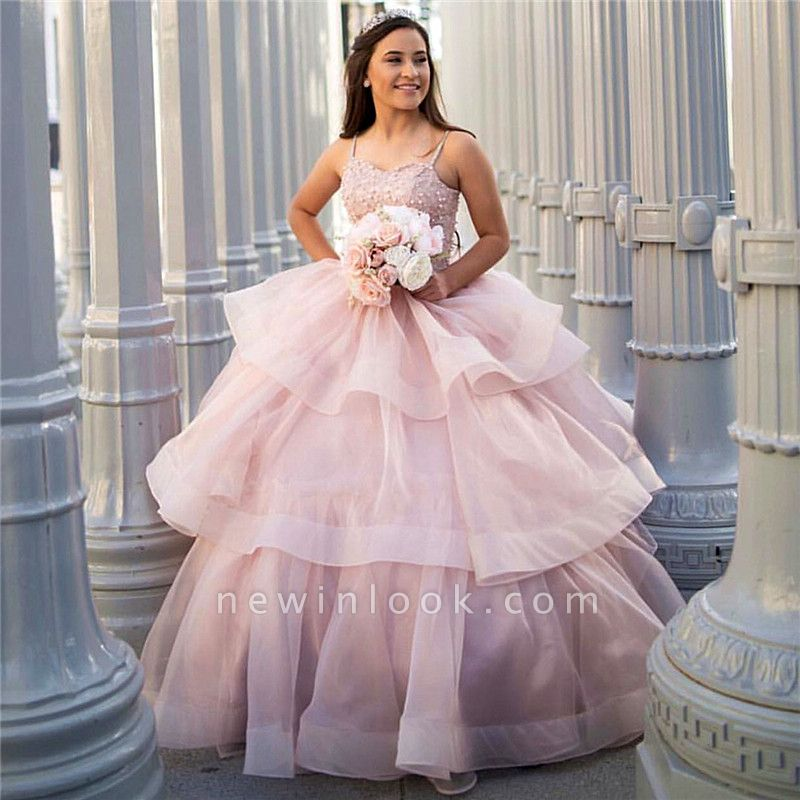 Attractive Spaghetti Straps Beadings Sleeveless Sweet 16 Dresses | Tiered Ball Gown Quince Dresses Long