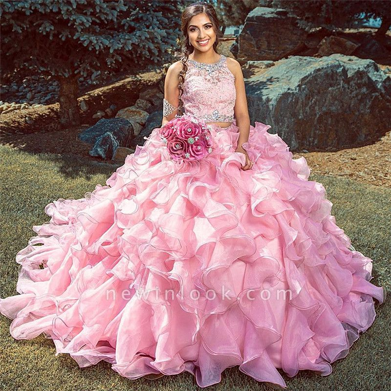 Fabulous Jewel Lace Ball Gown XV Dresses | Beadings Ruffles Quinceanera Dresses Long